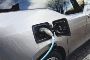 BMW i3 urban electric car charging in Amsterdam